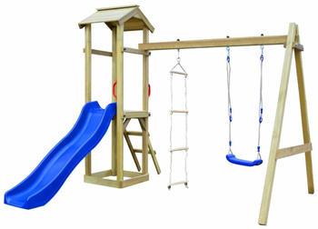 VidaXL Playhouse set with slide ladders swing 242 x 237 x 218 cm FSC wood