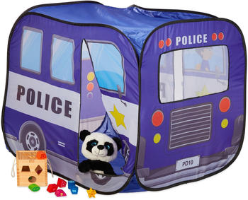 Relaxdays Pop Up Police Car Play Tent