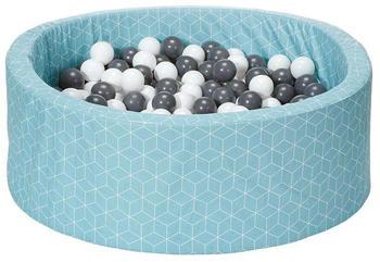 Knorrtoys Bällebad Soft Geo Cube Mint inkl. 300 Bälle grey/creme