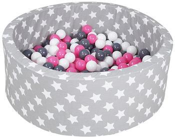 Knorrtoys Bällebad Soft Grey White Stars inkl. 300 Bälle creme/grey/rose