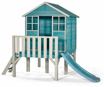 Plum Products Holz-Bootshaus auf Stelzen mit Rutsche blaugrün