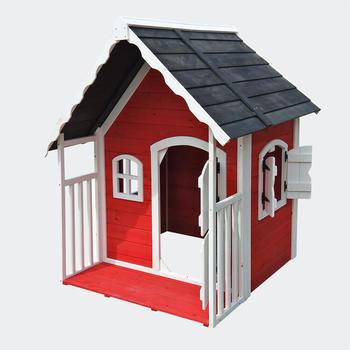 Wiltec Spielhaus für Kinder aus Holz mit Veranda, kleine Villa mit Flügeltür
