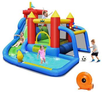 Costway Hüpfburg und 450W Gebläse Kombination mit Wasserrutsche Outdoor Bouncer Spielpool mit Luftgebläse 350x315x245cm