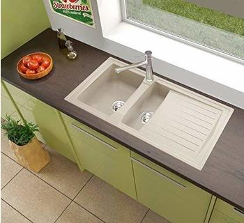 Respekta Mineralite Spüle Küchenspüle Spülbecken Einbauspüle Boston 100x50 sandbeige