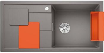 Blanco Sity XL 6 S Spüle B: 100 T: 50 cm, Becken rechts aluminium metallic, Zubehör-Set orange 525058