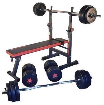 TrainHard Blackcombo inkl. Lang-, Curl- und Kurzhantelstange und 100 kg Hantelscheiben