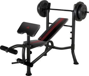 Adidas Hantelbank incl. Langhantelstange mit 45 kg Gewichte