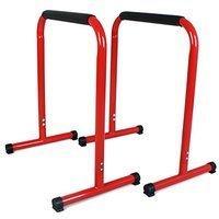Sportplus Fitness Rack, Pro Kraftstation für Dips, Liegestütze bis 120kg, rot, Sicherheit geprüft, SP-LE-002-R