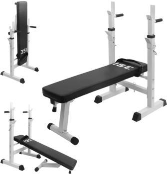 ISE Fitness Hantelbank Drückerbank Trainingsbank mit 5 Stufen Verstellbarer Ablage( 91-110cm) und Dip-Griffen Fitnessgerät klappbar schwarz SY-544 weiß