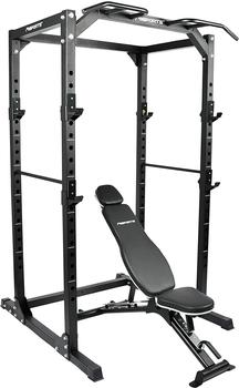 MSports® MSPORTS Power Rack Premium Cage H/B/T - 215x120x140 cm Kraftstation bis 200 kg Hantel Käfig Squat Fitnessstation (Power Rack + Hantelbank)
