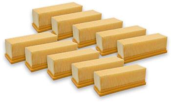 vhbw 10x Flachfaltenfilter Filter Mehrzwecksauger Kärcher 2501, 2501 TE, 2601, 2601 plus, 2701, 2701TE, 2801, 2801 plus, 3001 3001 hot wie 6.414-498.0