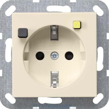 Gira FI-Schutzsteckdose 30 mA SH – cremeweiß glänzend (267701)