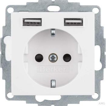 Berker USB#Schuko S.1/B.x polarweiß (48031909)