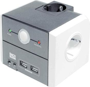 Bachmann Steckdosenleiste 3-fach Power Cube Protection, schwarz 335.051