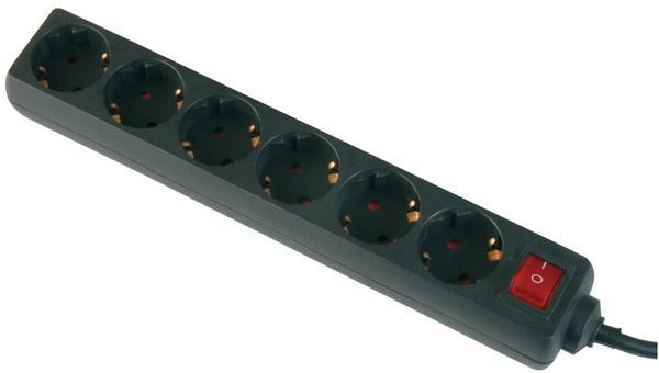 Intertec Steckdosenleiste 6-fach, schwarz, H05VV-F 3G 1,5 mm²