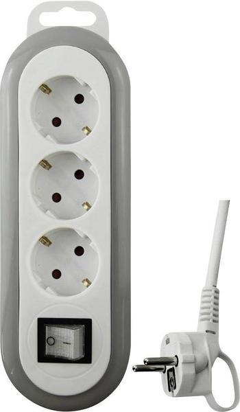GAO 3-fach mit Schalter und Schutzkontakt weiß/grau