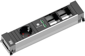 Bachmann Power Frame 1-fach + 2x Custom-Modul schwarz (916.0041)