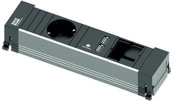 Bachmann Power Frame 1-fach + 1x Custom-Modul schwarz (916.0039)