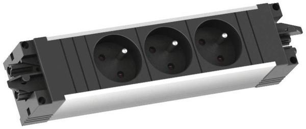 Bachmann STEP 3-fach UTE Steckdosenleiste Aluminium Schwarz 336.603