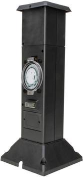 Kopp Energiesäule mit 2 Steckdosen, mechanische Zeitschaltuhr, schwarz/grün