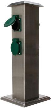 Kopp Energiesäule mit 4 Schutzkontaktsteckdosen, silber/grün