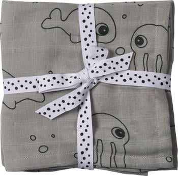 Done by Deer Burp Cloth 2-Pack sea friends grey