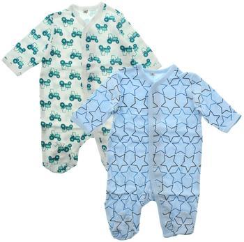 Pippi Strampler Little Boy 2er-Pack mit Fuß hellblau