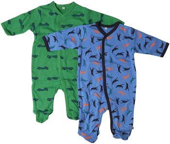 Pippi Strampler Boy World 2er-Pack mit Fuß dunkelblau/grün