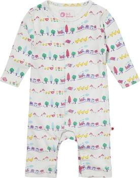 Piccalilly Footless Romper Farm Train white