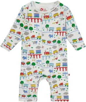 Piccalilly Footless Romper Rainbow Train white