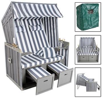 TecTake Luxus Strandkorb grau / weiß