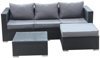 1PLUS Lounge-Ecksofa aus Polyrattan (schwarz) inkl. Tisch mit Glasplatte und wasserabweisenden Polstern