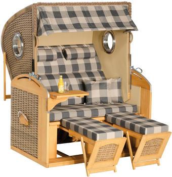 SunnySmart Rustikal 305Z Comfort XL Gartenstrandkorb mit Bullauge antik-braun