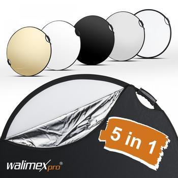Walimex pro 5in1 Faltreflektor wavy comfort Ø56cm mit Griffen und 5 Reflektorfarben