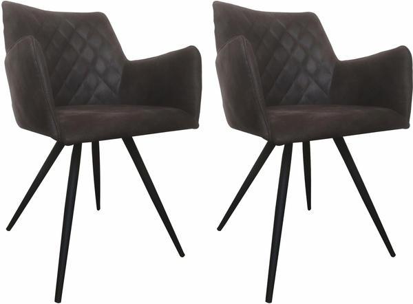 SIT SIT&CHAIRS Armlehnstuhl 2er-Set Texas grau/antikschwarz