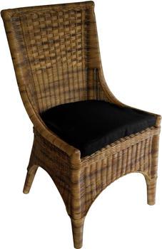 SIT Rattanstuhl mit Sitzkissen schwarz