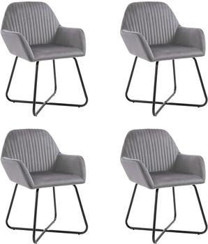 vidaXL Dining Chairs in Grey Velvet (4 Pieces)