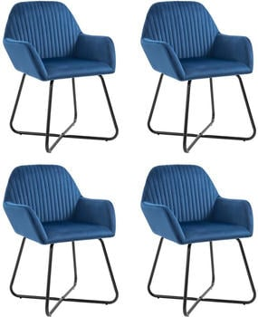 vidaXL Dining Chairs in Blue Velvet (4 Pieces)