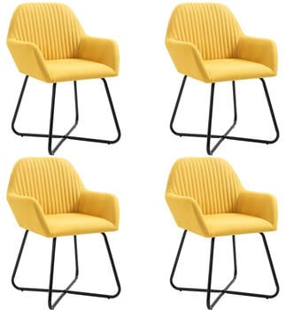 vidaXL Dining Chairs in Yellow Fabric (4 Pieces)