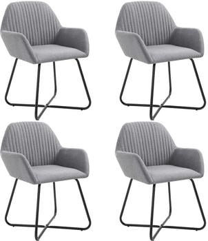 vidaXL Dining Chairs in Light Grey Fabric (4 Pieces)