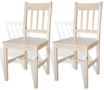 vidaXL Dining Chairs in Pine Wood (2 Pieces)