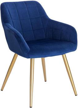 Woltu Esszimmerstuhl aus Samt goldene Beine blau
