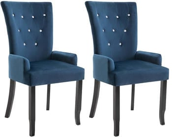vidaXL Dining Chairs With Armrests in Blue Velvet (2 Pieces)