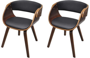 vidaXL Dining Chairs in Curved Wood and Fake Leather (2 Pieces)