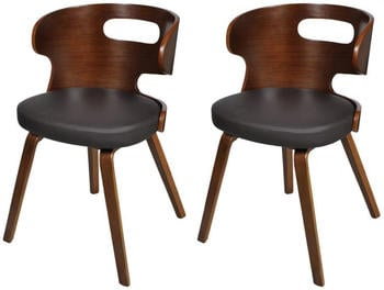 vidaXL Dining Chairs in Dark Wood and Fake Leather (2 Pieces)