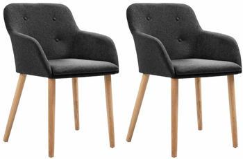vidaXL Chairs in Dark Grey Fabric (2 Pieces)