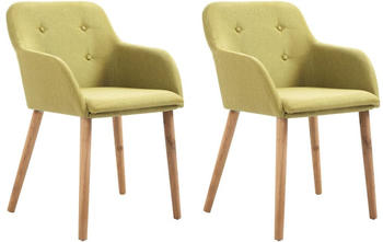vidaXL Chairs in Lime Green Fabric (2 Pieces)