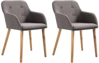 vidaXL Chairs in Taupe Fabric (2 Pieces)