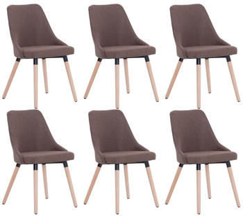 vidaXL Dining Chairs in Brown Fabric (6 Pieces)