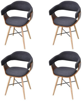 vidaXL Dining Chairs in Curved Wood and Dark Grey Fabric (4 Pieces)